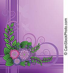 lilás, flores, ligado, um, checkered, fundo