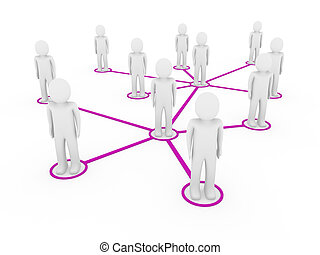 lila, 3d, maenner, vernetzung, sozial