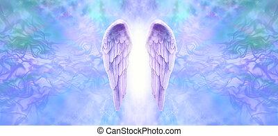 lila, alas ángel, bandera