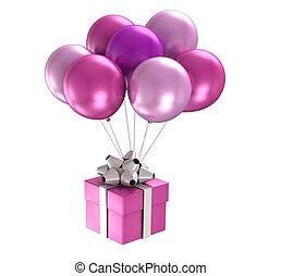 lila, ballons, 3d