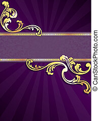lila, banner, gold, senkrecht