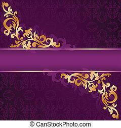 lila, banner, gold, verzierungen