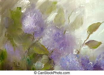 lila, blomningen, bakgrund., vår blommar