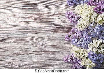 lila, blomningen, på, ved, bakgrund, blomma, filial, på, årgång, ved