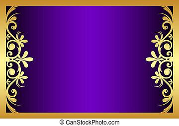 lila, blumen-, rahmen, vektor, gold