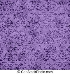 lila, blumen-, tapisserie, muster