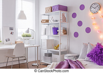 Lila, Farbe, In, Teenager, Zimmer
