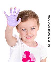 lila, farbe, kind, sie, hand