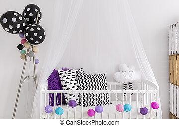 lila, farben, schalfzimmer, schwarz, weißes, prinzessin