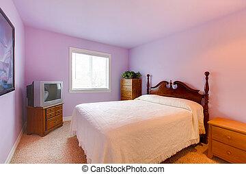 lila, fernsehapparat, bettzeug, weißes, schalfzimmer