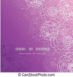lila, glühen, blumen, magisch, quadrat, schablone, hintergrund