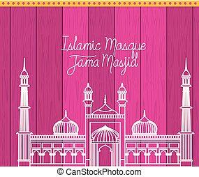 lila, indische , masjid, jama, hintergrund, tempel