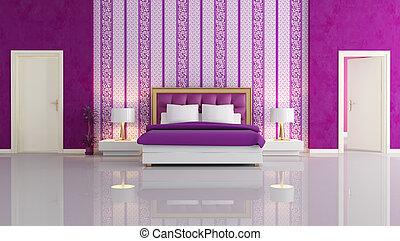 lila, luxus, schalfzimmer