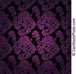 lila, ornamento, seamless, patrón, plano de fondo, floral