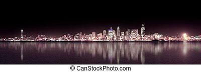 lila, panoramisch, seattle, nacht