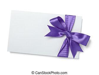 lila, rosa, merkzettel, geschenkband, karte