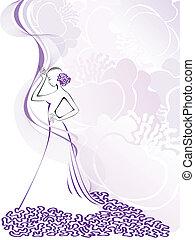 lila, silhouette, frauen