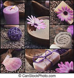 lila, spa, collage