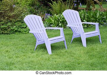 lila, stühle, rasen, grün