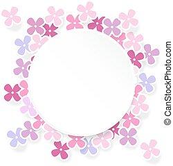 lila, tarjeta, primavera, saludo, cumpleaños, invitación, flores, o