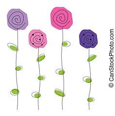 lila, und, rosa blüten
