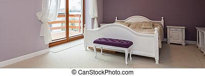 lila, weißes, schlafzimmer möbel