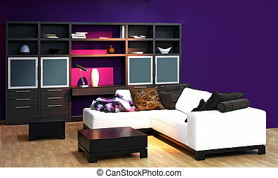 Lila Wohnzimmer, lila, wohnzimmer, möbel. wohnzimmer, lila, bild, moderne möbel., Design ideen