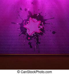 lila, ziegelmauer, in, schatten