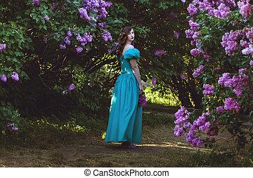 lilac., 歩くこと, 女, 庭