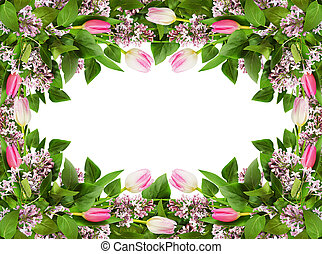 Lilac and tulip flowers in a frame