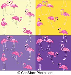 Lilac and yellow fashion wallpaper with cute pink flamingo