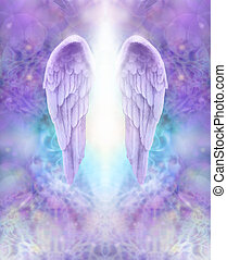Beautiful pair of lilac Angel wings with white light flowing down between, floating on an intricate lace like lilac and turquoise colored energy formation background