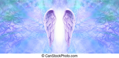 Lilac Angel Wings Banner - Wide wispy background with a pair...