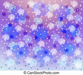 Lilac background with blue and pink florets.