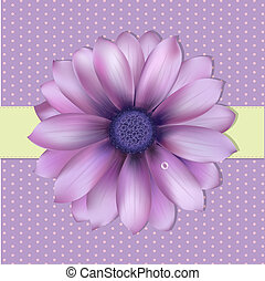 Lilac Background With Gerber, Vector Illustration