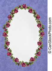 lilac background with oval frame