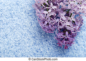 purple lilac with blue bath salts