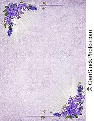 lilac bouquet frame - Lilac bouquet frame on damask...