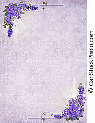 lilac bouquet frame - Lilac bouquet frame on damask...