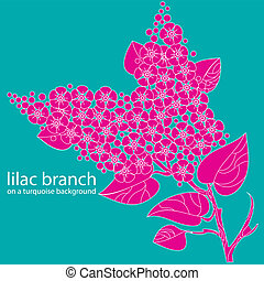 lilac branch on a turquoise background