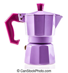 Lilac coffe pot - a lilac coffeepot isolated over a white...