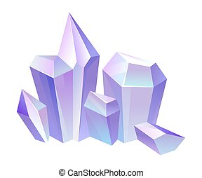 Lilac crystals. Vector illustration on a white background.