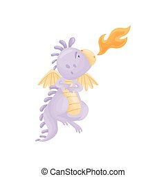 Lilac dragon spews flames. Vector illustration on white...