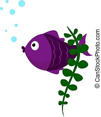 Lilac fish, illustration, vector on white background.