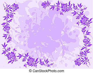 lilac floral frame - bedraggled lilac background with a...