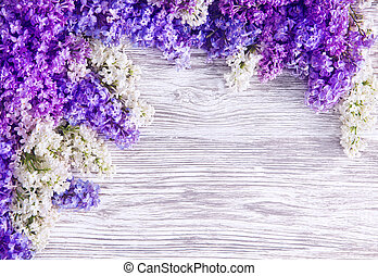 Lilac Flower Background, Blooms Flowers on Wood