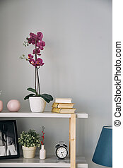 lilac flower is in a pot on the shelf. Modern interior.
