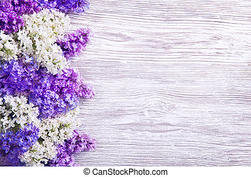 Lilac Flower on Wood Background, Blooms Pink Flowers in Left...