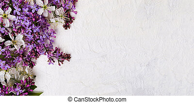 Lilac flowers arrangement on white background