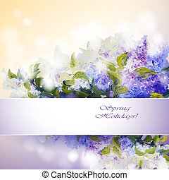 Lilac flowers background. Spring flowers invitation template...